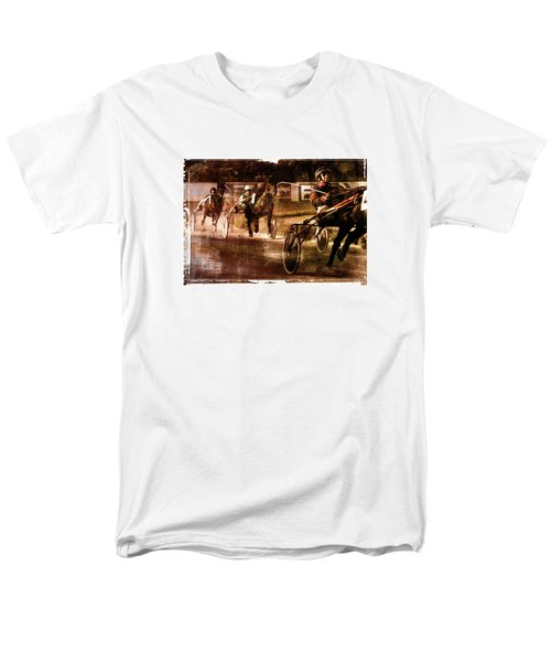 Men's T-Shirt  (Regular Fit) featuring the photograph and the winner is - A vintage processed Menorca trotting race by Pedro Cardona