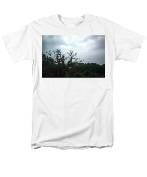 Men's T-Shirt  (Regular Fit) featuring the photograph Approaching Storm Viewed Through My Rain Streaked Window by Lon Casler Bixby