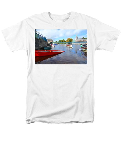 Men's T-Shirt  (Regular Fit) featuring the photograph Boats On The Garavogue by Charlie and Norma Brock