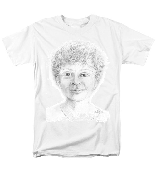 Boy Or Girl Woman Or Man African Or Asian Has Curly Hair Big Lips And A Big Head Men's T-Shirt  (Regular Fit) by Rachel Hershkovitz
