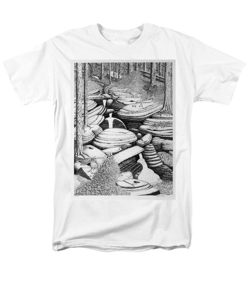 Men's T-Shirt  (Regular Fit) featuring the drawing Cascade In Boulders by Daniel Reed