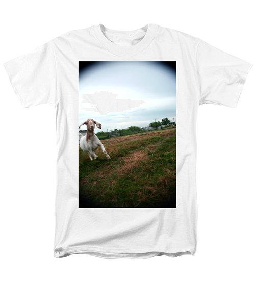 Men's T-Shirt  (Regular Fit) featuring the photograph Chased By A Crazy Goat by Lon Casler Bixby