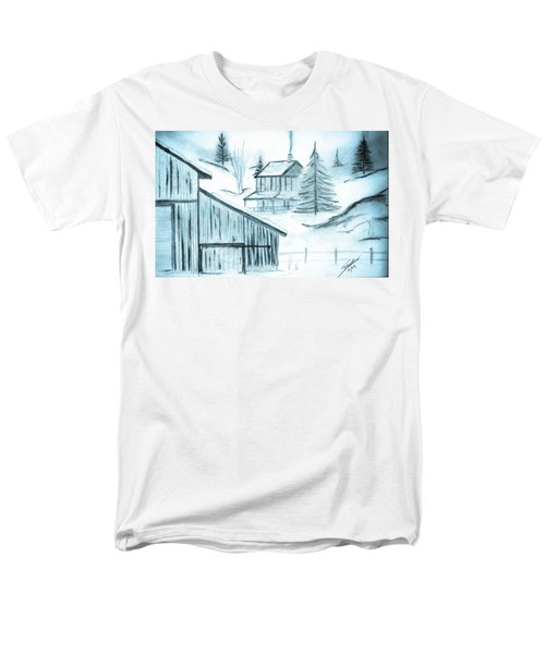 Men's T-Shirt  (Regular Fit) featuring the drawing Colorado Farm by Shannon Harrington