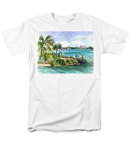 Men's T-Shirt  (Regular Fit) featuring the painting Cudjoe Key Bridge by Clara Sue Beym