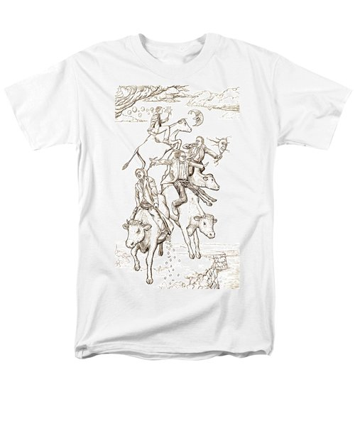 Men's T-Shirt  (Regular Fit) featuring the digital art Four Mad Cowboys Of The Apocalypse by Russell Kightley