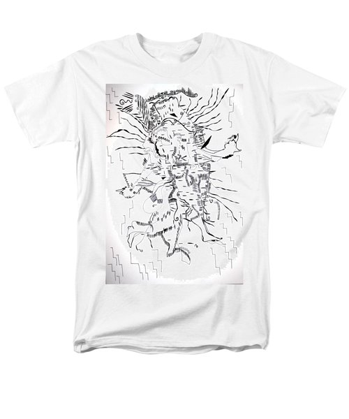 Men's T-Shirt  (Regular Fit) featuring the drawing Gule Wamkulu - Malawi by Gloria Ssali
