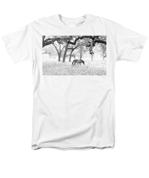 Men's T-Shirt  (Regular Fit) featuring the photograph Horse In Foggy Field Of Oaks by CML Brown