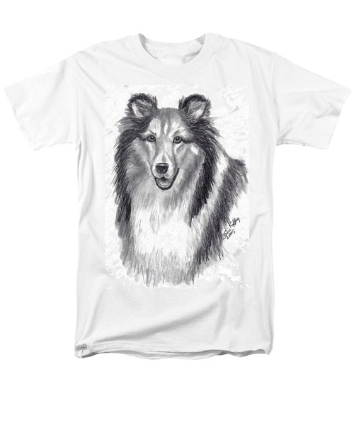 Men's T-Shirt  (Regular Fit) featuring the drawing Looks Like Lassie by Julie Brugh Riffey