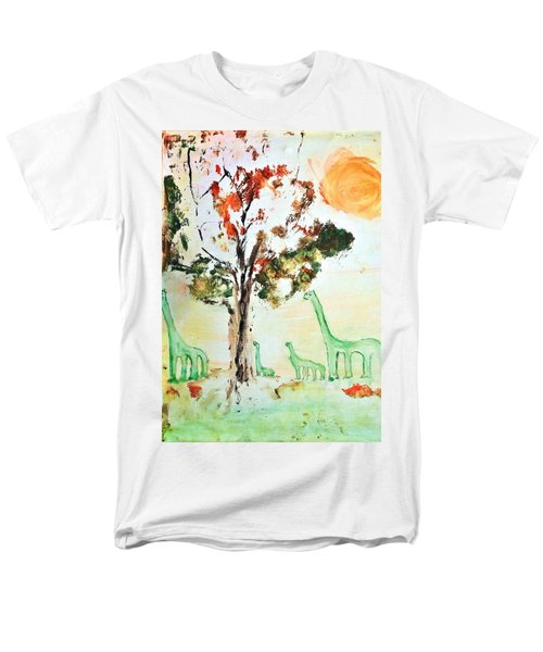 Men's T-Shirt  (Regular Fit) featuring the painting Matei's Dinosaurs by Evelina Popilian
