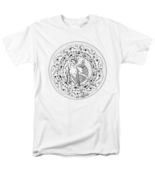 Mermaid In Black And White Round Circle With Water Fish Tail Face Hands  Men's T-Shirt  (Regular Fit) by Rachel Hershkovitz