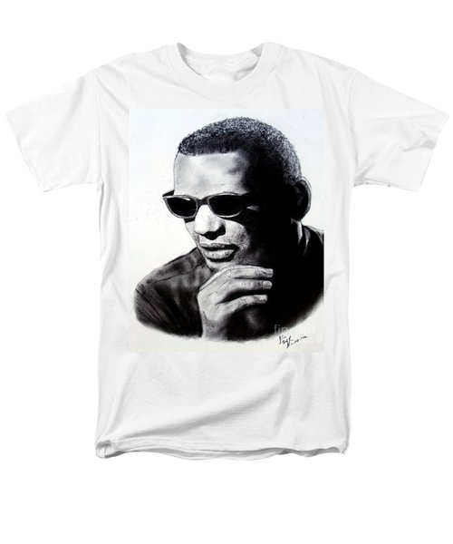 Men's T-Shirt  (Regular Fit) featuring the painting Music Legend Ray Charles by Jim Fitzpatrick