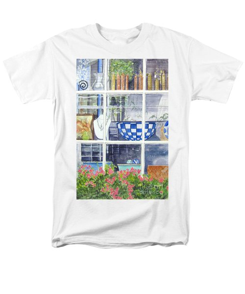 Men's T-Shirt  (Regular Fit) featuring the painting Nantucket Shop-lecherche Midi by Carol Flagg
