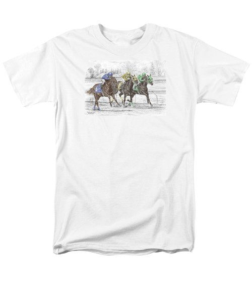 Neck And Neck - Horse Race Print Color Tinted Men's T-Shirt  (Regular Fit) by Kelli Swan