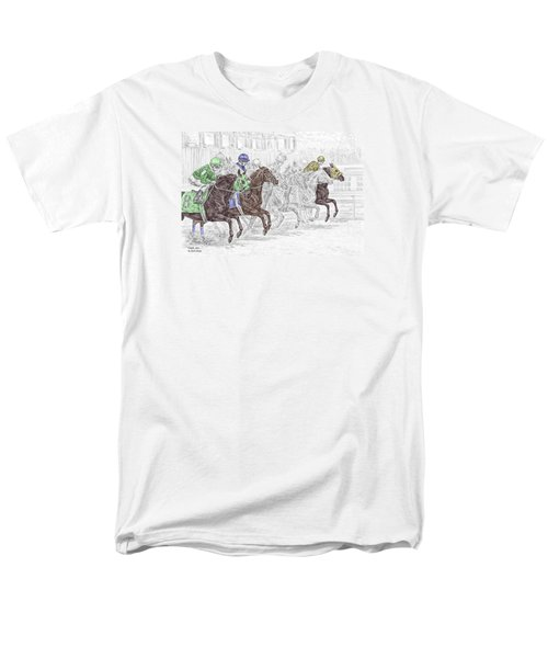 Odds Are - Tb Horse Racing Print Color Tinted Men's T-Shirt  (Regular Fit) by Kelli Swan