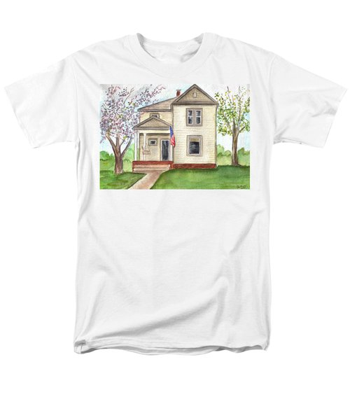 Men's T-Shirt  (Regular Fit) featuring the painting Ohio Cottage With Flag by Clara Sue Beym