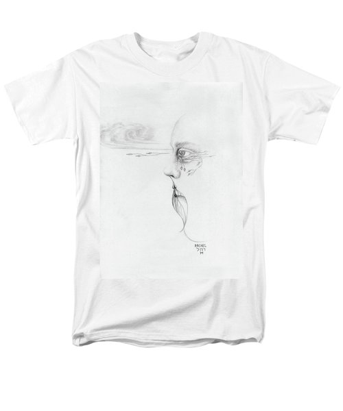 Old Nature Face Black And White Art Looking Into Cloud  L Leaf Beard Fantasy Flower Tear Surreal Men's T-Shirt  (Regular Fit) by Rachel Hershkovitz