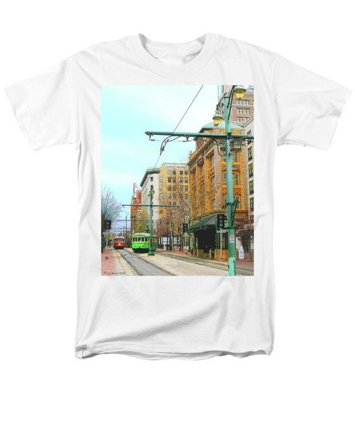 Men's T-Shirt  (Regular Fit) featuring the photograph Red Trolley Green Trolley by Lizi Beard-Ward