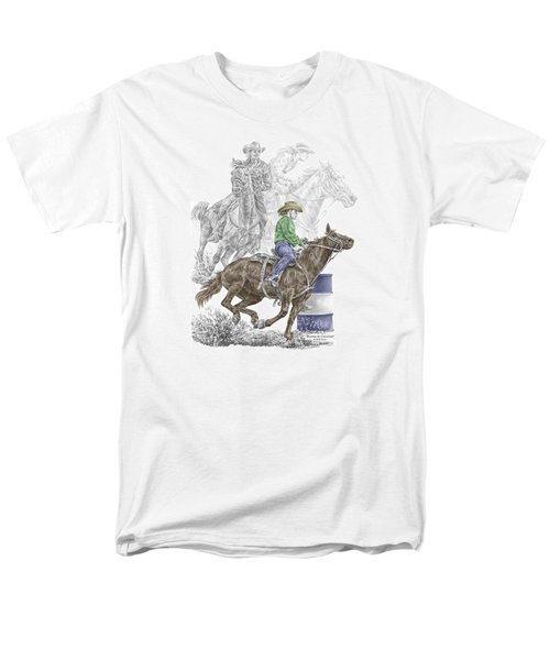 Running The Cloverleaf - Barrel Racing Print Color Tinted Men's T-Shirt  (Regular Fit) by Kelli Swan