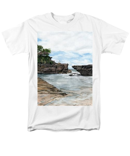 Men's T-Shirt  (Regular Fit) featuring the painting Tanah Lot Temple II Bali Indonesia by Melly Terpening