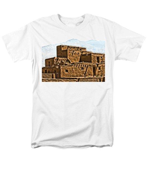 Taos Pueblo Men's T-Shirt  (Regular Fit) by John Hansen