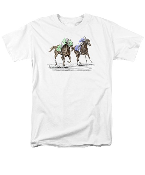 The Stretch - Tb Horse Racing Print Color Tinted Men's T-Shirt  (Regular Fit) by Kelli Swan