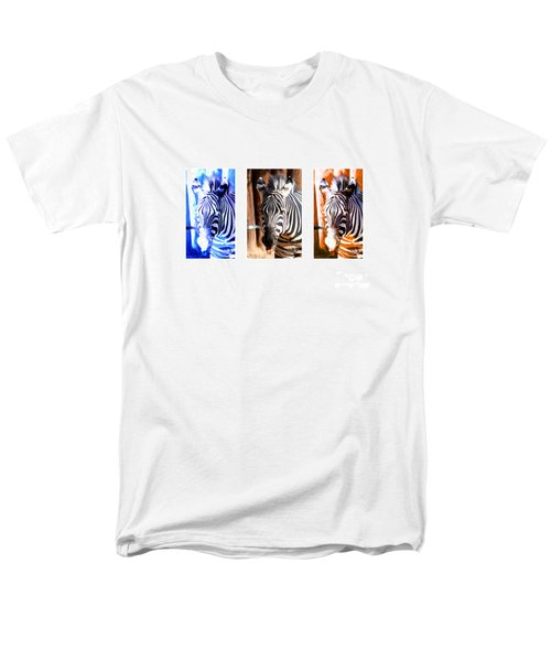 Men's T-Shirt  (Regular Fit) featuring the photograph The Three Zebras White Borders by Rebecca Margraf