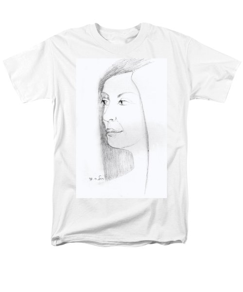 Woman In Black And White Long Hair Red Lips And Shoulders  Men's T-Shirt  (Regular Fit) by Rachel Hershkovitz