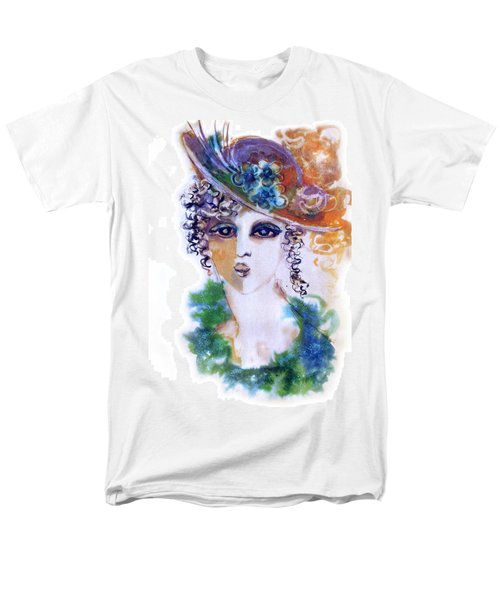 Young Woman Face With Curls In Blue Green Dress Purple Hat With Flower  Men's T-Shirt  (Regular Fit) by Rachel Hershkovitz