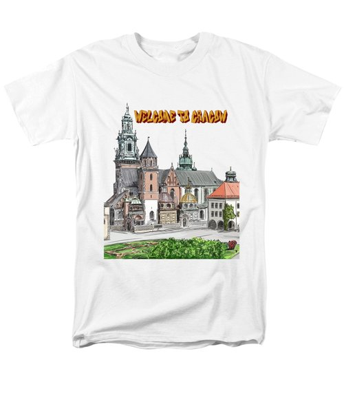 Men's T-Shirt  (Regular Fit) featuring the painting  Cracow.world Youth Day In 2016. by Andrzej Szczerski