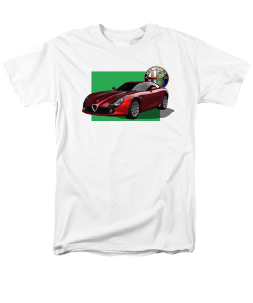 Alfa Romeo Zagato  T Z 3  Stradale With 3 D Badge  Men's T-Shirt  (Regular Fit) by Serge Averbukh