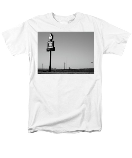 Men's T-Shirt  (Regular Fit) featuring the photograph American Interstate - Kansas I-70 Bw 4 by Frank Romeo