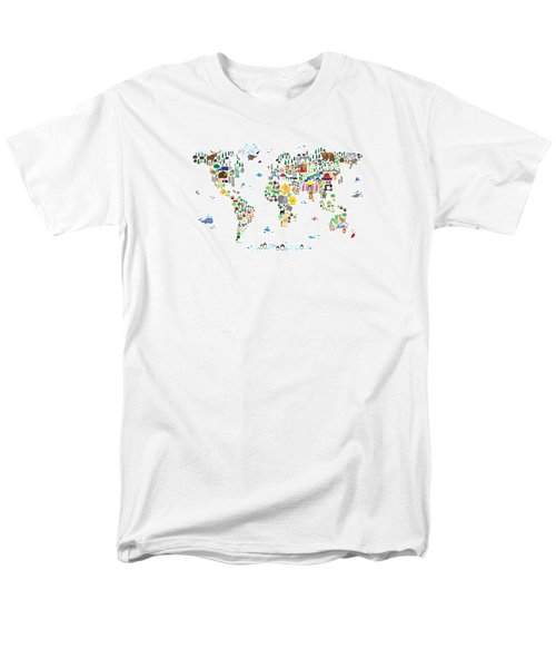 Animal Map Of The World For Children And Kids Men's T-Shirt  (Regular Fit) by Michael Tompsett