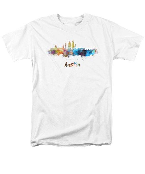 Austin Skyline In Watercolor Men's T-Shirt  (Regular Fit)