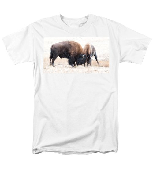 Men's T-Shirt  (Regular Fit) featuring the photograph Battle Of The Bison In Rut by Yeates Photography