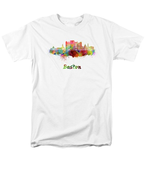 Boston Skyline In Watercolor Men's T-Shirt  (Regular Fit) by Pablo Romero