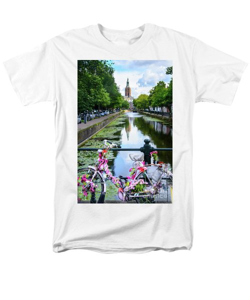 Men's T-Shirt  (Regular Fit) featuring the digital art Canal And Decorated Bike In The Hague by RicardMN Photography