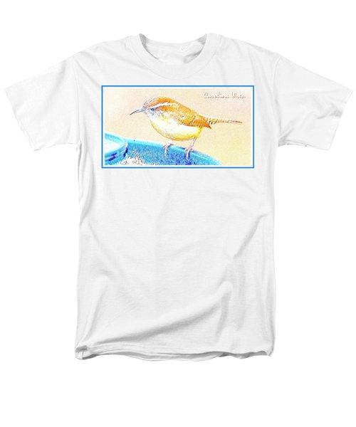 Carolina Wren, Winter Wren On Bird Feeder, Digital Art Men's T-Shirt  (Regular Fit) by A Gurmankin
