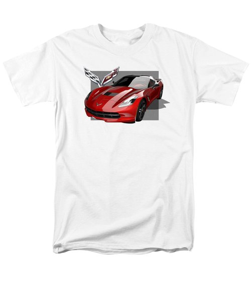 Chevrolet Corvette  C 7  Stingray With 3 D Badge  Men's T-Shirt  (Regular Fit) by Serge Averbukh