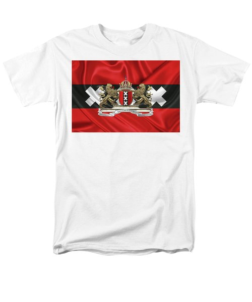 Coat Of Arms Of Amsterdam Over Flag Of Amsterdam Men's T-Shirt  (Regular Fit) by Serge Averbukh