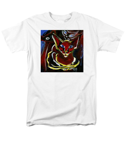 Men's T-Shirt  (Regular Fit) featuring the painting Foreign White Cat by Leanne WILKES