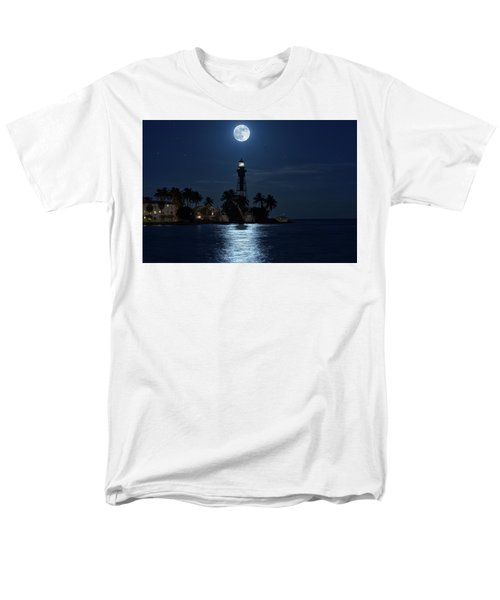 Full Moon Over Hillsboro Lighthouse In Pompano Beach Florida Men's T-Shirt  (Regular Fit) by Justin Kelefas
