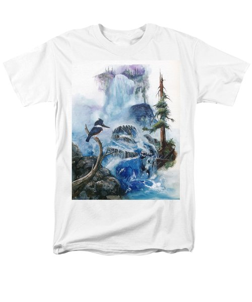 Men's T-Shirt  (Regular Fit) featuring the painting Kingfisher's Realm by Sherry Shipley
