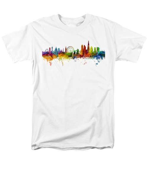 London England Skyline Panoramic Men's T-Shirt  (Regular Fit) by Michael Tompsett