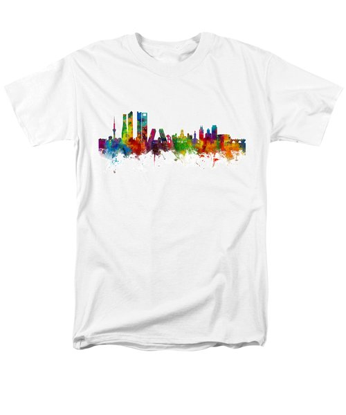 Madrid Spain Skyline Men's T-Shirt  (Regular Fit) by Michael Tompsett