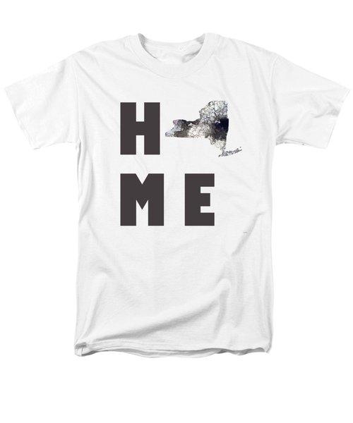 Men's T-Shirt  (Regular Fit) featuring the digital art New York State Map by Marlene Watson