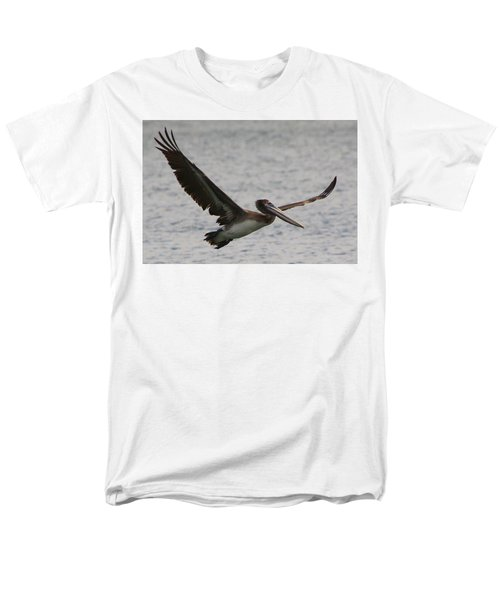 Men's T-Shirt  (Regular Fit) featuring the photograph Pelican In Flight by Laurel Talabere