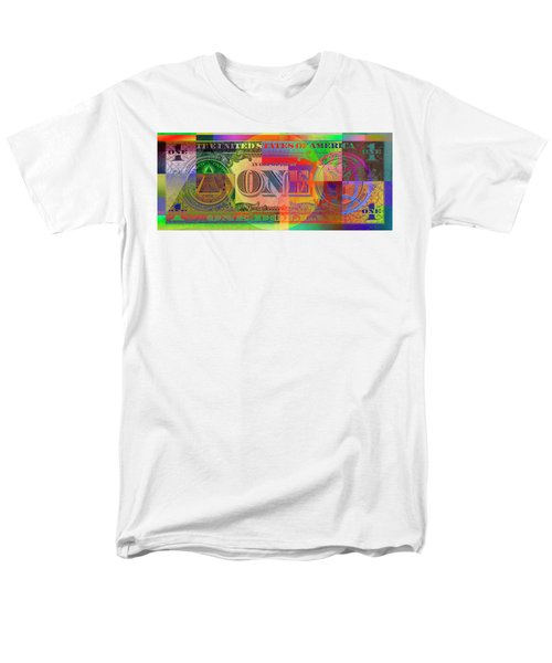 Pop-art Colorized One U. S. Dollar Bill Reverse Men's T-Shirt  (Regular Fit) by Serge Averbukh