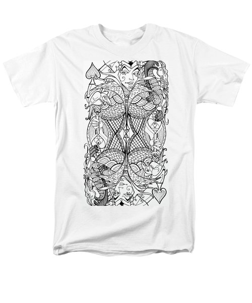 Men's T-Shirt  (Regular Fit) featuring the drawing Queen Of Spades 2 by Jani Freimann