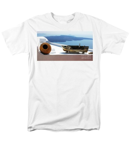 Santorini Greece Men's T-Shirt  (Regular Fit) by Bob Christopher