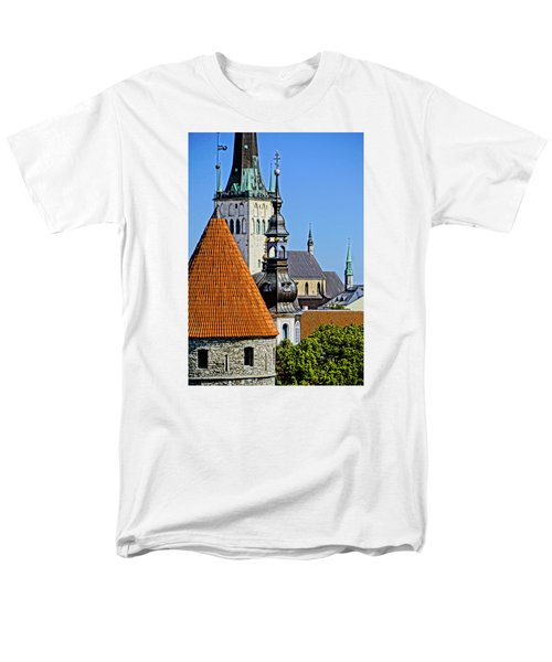 Men's T-Shirt  (Regular Fit) featuring the photograph Tallinn Steeples by Dennis Cox WorldViews